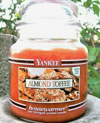 "Yankee Candle Retired Black Band ""almond Toffee"" 14.5 Oz  White Label~ Rare~ New"