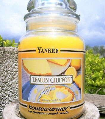"Yankee Candle Retired Black Band ""lemon Chiffon""~ Large 22 Oz ~white Label~ Rare"