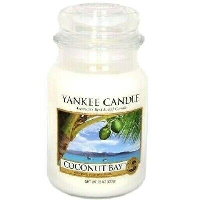 "Set/lot Of 2 Yankee Candle Retired ""coconut Bay""large 22oz ~white Label~rare~new"