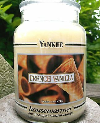 "Yankee Candle Retired Black Band ""french Vanilla"" 22 Oz.~white Label~new"