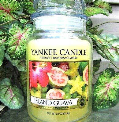"Yankee Candle Retired ""island Guava"" ~ Large 22 Oz ~ White Label~ Rare ~ New"