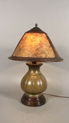 1910 Arts And Crafts Table Lamp With Bronze Japanese Base And Mica Shade (11771)