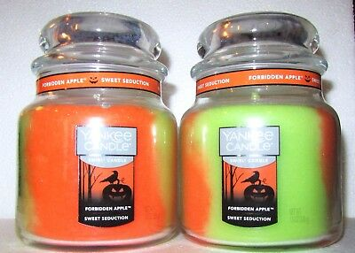 Set Of 2 Yankee Candle Halloween Medium Swirl~ Forbidden Apple & Sweet Seduction