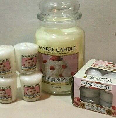Yankee Candle  Strawberry Buttercream  22 Oz. Jar Tea Lights  4 Votive Rare Htf