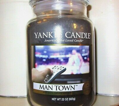 """Yankee Candle """"man Town"""" Man Candle 22 Oz.~ White Label~collector"""