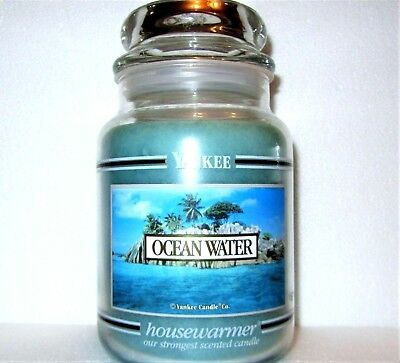 "Yankee Candle Retired Black Band ""ocean Water"" Large 22 Oz~ Spring ~white Label"