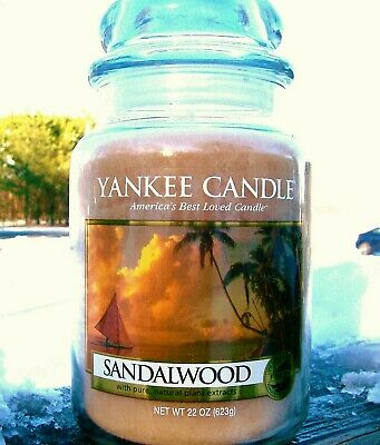"Yankee Candle Retired ""sandalwood"" ~ Large 22 Oz ~ White Label~ Rare ~ New"