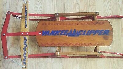 "Antique Wooden Snow Sled 36"" Long Flexible Flyer Yankee Clipper"