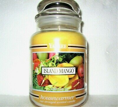 "Yankee Candle Retired Black Band ""island Mango""~ Large 22 Oz ~ White Label~ Rare"
