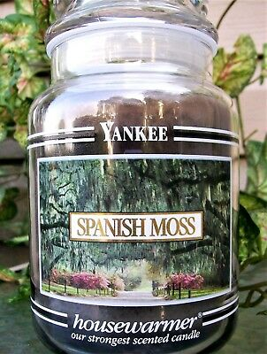 "Yankee Candle Retired Black Band ""spanish Moss"" Large 22 Oz~ White Label~rare"