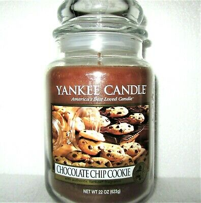 "Yankee Candle Retired ""chocolate Chip Cookie""~large 22 Oz ~ White Label~rare~new"