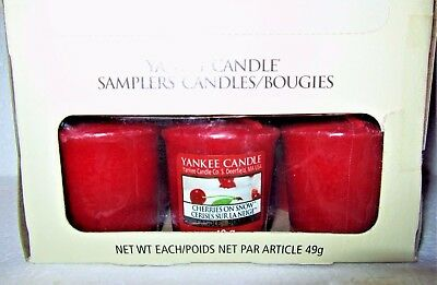 "Box Lot Of 18 Yankee Candle ""cherries On Snow"" ~ European ~ Sampler Votives~ New"