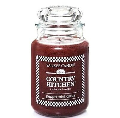 """Yankee Candle Retired Country Kitchen """"peppermint Cocoa""""~ Large 22 Oz ~ Rare~new"""