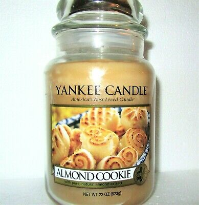 "Yankee Candle Retired ""almond Cookie""~food~large 22 Oz ~ White Label~rare~new"