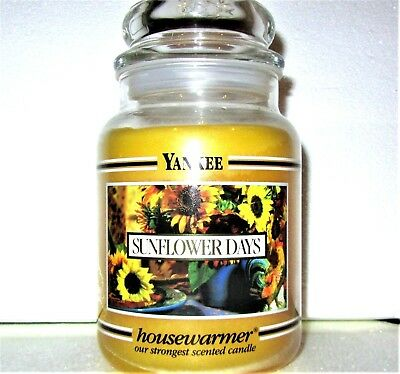 "Yankee Candle Retired Black Band ""sunflower Days"" Large 22 Oz~ White Label~ Rare"