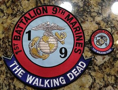 """1st Battalion 9th Marines The Walking Dead Jacket Patch 10"""" & 3"""" Patch Iron - On"""