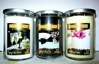 Set Of 3 Yankee Candle~tying The Knot~black Bow Tie~ Wedding Cake~ 2-wick  22 Oz