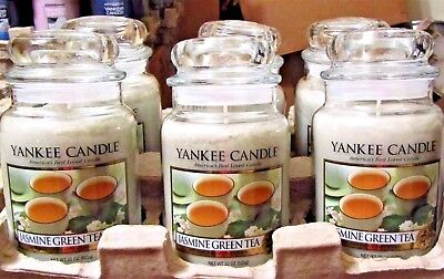 "Set/lot Of 6 Yankee Candle Retired ""jasmine Green Tea""  Large 22 Oz~ White Label"