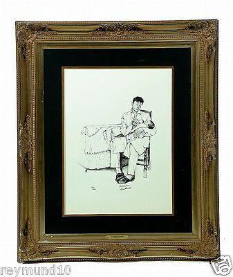 Hand-signed Norman Rockwell Framed Two O