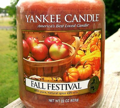 """Set Of 6 Yankee Candle """"fall Festival"""" ~ Large 22 Oz ~ White Label ~ New"""