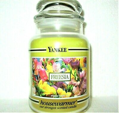 "Yankee Candle Black Band ""freesia""~ Deerfield ~ Large 22 Oz.~ White Label~ Rare"
