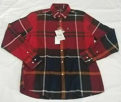 Barbour Mens Dunoon Long Sleeve Button Shirt Plaid Red
