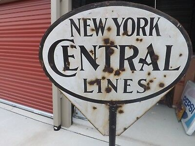 Rare New York Central Lines Railroad Train Oval Porcelain Dsp Sign Gas Oil Cola