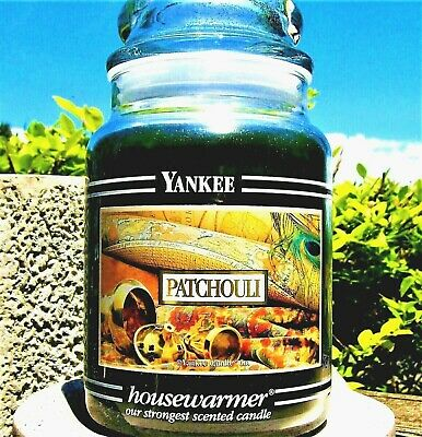 "Yankee Candle Retired Label Black Band ""patchouli"" Large 22 Oz~ White Label~rare"