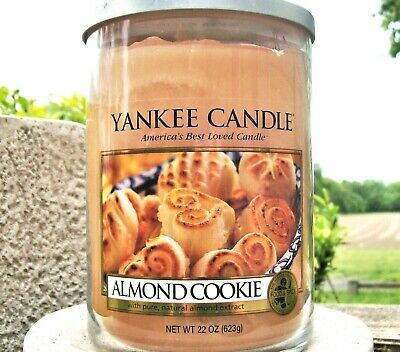 """Yankee Candle Retired """"almond Cookie""""  2-wick ~ Large 22 Oz.~ White Label ~ Rare"""