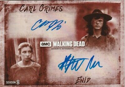 Walking Dead Season 8 Chandler Riggs Katelyn Nacon Dual Autograph /10 Da-rn
