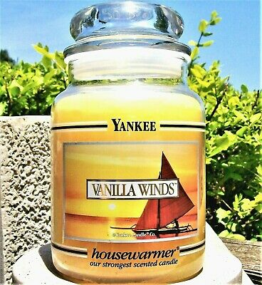 "Yankee Candle Retired Black Band ""vanilla Winds"" Large 22 Oz~ White Label~rare"