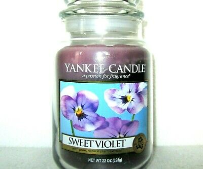 "Yankee Candle Retired ""sweet Violet ""deerfield~large 22 Oz~white Label~rare~new"
