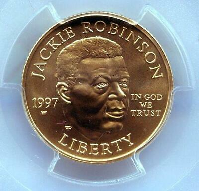 1997-w Jackie Robinson | Pcgs Ms69 | West Point | Gold Coin | Bin (rc16897)