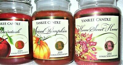 Set Of 3 Yankee Candle 22 Oz~macintosh~spiced Pumpkin~home Sweet Home~collectors