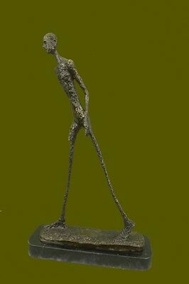 "Bronze Sculpture ""walking Man"" Marble Base Figurine Figure Home Decor  Hot Cast"