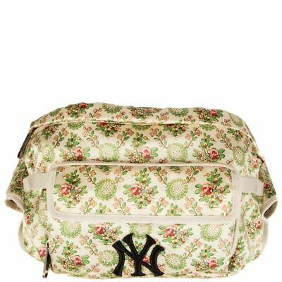 57702 Auth Gucci Off-white Silk Satin Floral Ny Yankee Patch Belt Bag