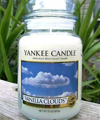 "Yankee Candle Retired ""vanilla Clouds"" ~ Large 22 Oz ~ White Label~ Rare ~ New"