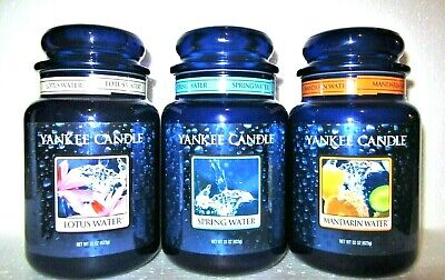 Set Of 3 Yankee Candle Retired Lotus Mandarin Spring Water ~large 22 Oz~rare~new