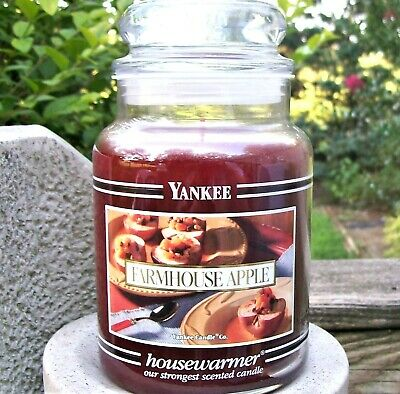 "Yankee Candle Retired Black Band ""farmhouse Apple""~ Large 22 Oz ~white Label~new"
