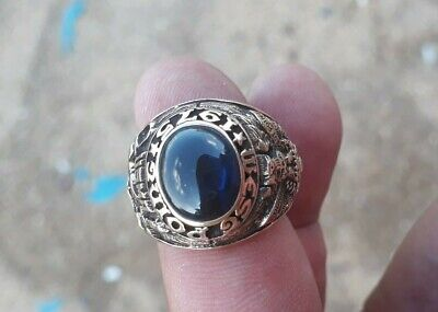 Us Military Academy West Point Rings 1975 Gold 10k Sapphire Stone Size 9.5