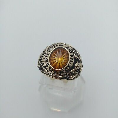 Us Military Academy West Point Rings 1983 Gold 10k Citrine Stone Size 11