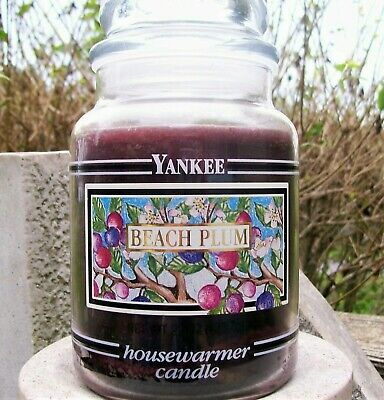 "Yankee Candle Retired Illustrative Black Band Box ""beach Plum"" ~large 22 Oz~rare"
