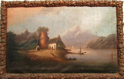 Antique Flemish Dutch Signed Painting 18th Century Art Oil On Canvas 22x35.5""