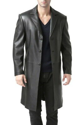Bgsd Mens Classic Leather Long Walking Coat - Big - Black
