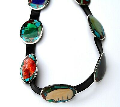 Vintage Turza Wells And Andrew Shows Sterling Silver Bear Inlay Concho Belt