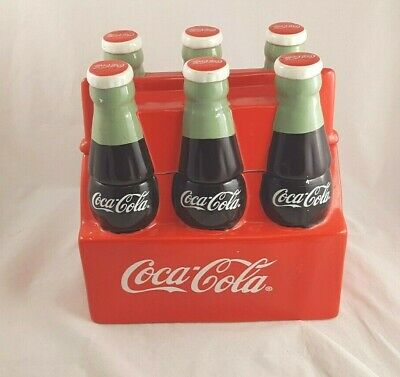 Coca Cola Coke  Six Pack Ceramic Cookie Jar Retired Item By Gibson Housewares