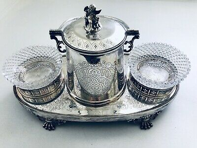 Stunning Silverplate Embossed Butler Biscuit Barrel Canister W/ Cut Glass Jars