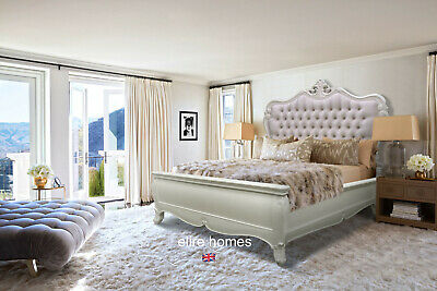 White Mahogany Chesterfield Style Super King Size  Upholstered French Style Bed
