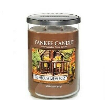 """Yankee Candle Retired """"treehouse Memories"""" 2-wick~large 22 Oz.~ White Label~rare"""