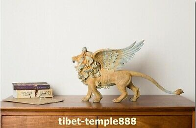 58cm Western Art Deco Pure Brass Mighty Myth Animal Guardian Wing Lion Sculpture